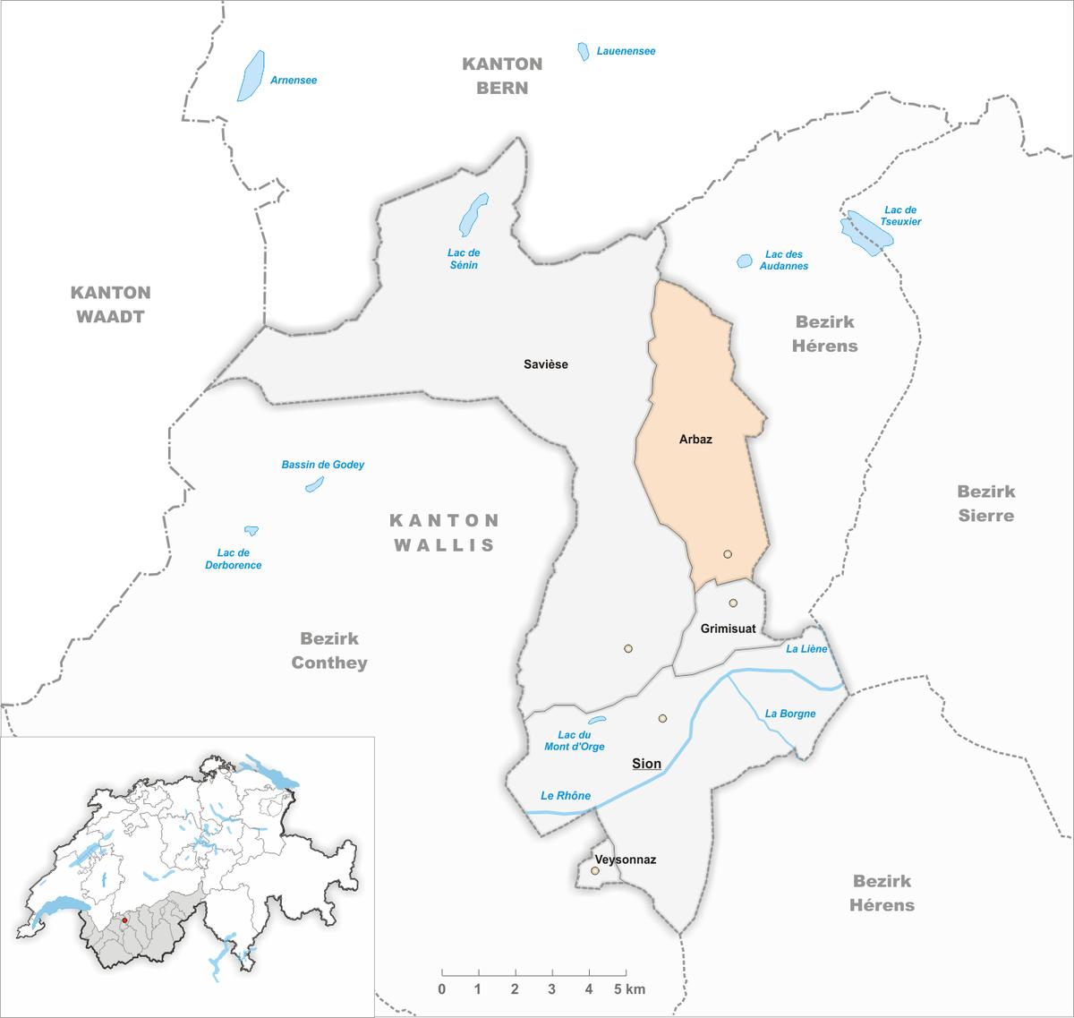 Px Karte Gemeinde Arbaz