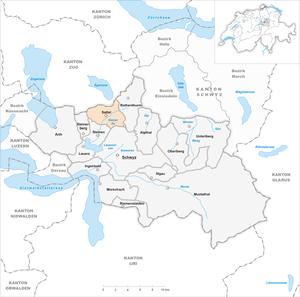 Sattel, Switzerland - Image: Karte Gemeinde Sattel 2007