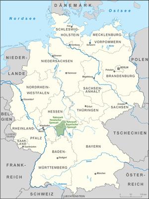 Spessart Nature Park - Location of the Bavarian and Hessian Spessart
