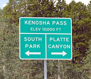 Kenosha Pass - The pass sign.