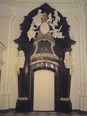 Jesuit Church, Warsaw - Jan Tarło's cenotaph by Jan Jerzy Plersch 1753, destroyed in 1944, reconstructed in 2010.