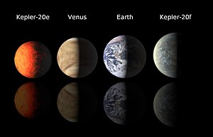 Kepler-20e - The size of Kepler-20e and Kepler-20f compared to Venus and Earth (surface detail for the Kepler planets is artist's impression)