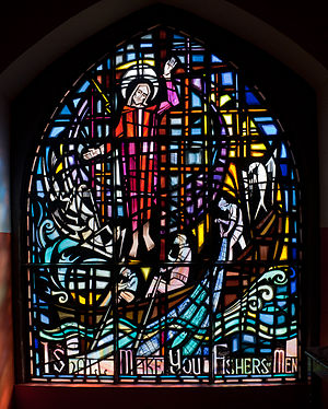 Fishers of men - I Shall Make You Fishers of Men; a stained glass window at Kilmore Quay, Ireland
