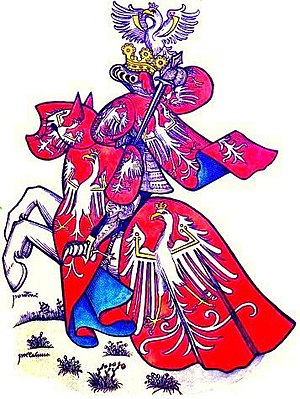 Coat of arms of Poland - King of Poland in tournamental attire