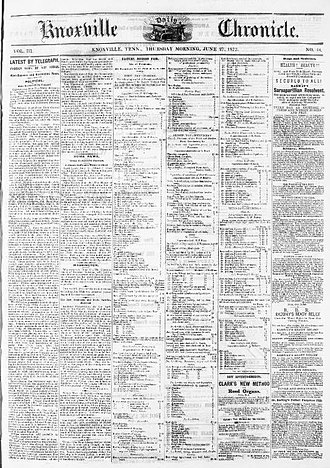 William Rule (editor) - Front page of the June 27, 1872, issue of the Knoxville Chronicle