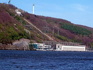 Ardey Hills - The Koepchenwerk hydropower station on the slopes of the Ardey above the Ruhr, with the Hengsteysee in Herdecke