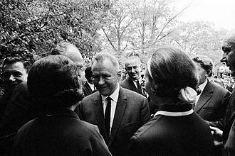 Détente - Soviet Premier Alexei Kosygin (front) next to U.S. President Lyndon B. Johnson (behind) during the Glassboro Summit Conference