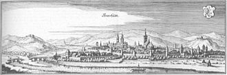 Bad Hersfeld - Copperplate engraving of Hersfeld in 1655 (Matthäus Merian the Younger)