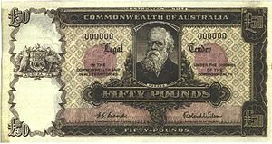 Banknotes of the Australian pound - An uncirculated fifty-pound note