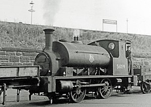 Caledonian Railway 264 Class - 264 Class loco 56039 shunting at Whiteinch Glasgow in 1958. Built in 1885 as CR 269, later LMS 16039 and BR 56039. Note converted wagon acting as coal tender.
