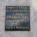La Valla-en-Gier - Plaque Champagnat fondation Frères maristes (fév 2018).jpg