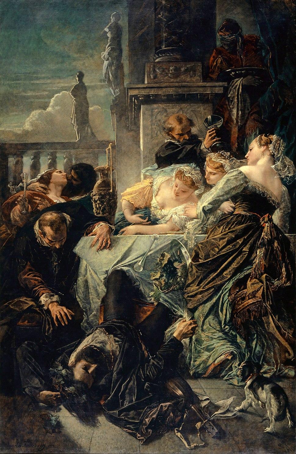 La muerte de Pietro Aretino, por Anselm Feuerbach