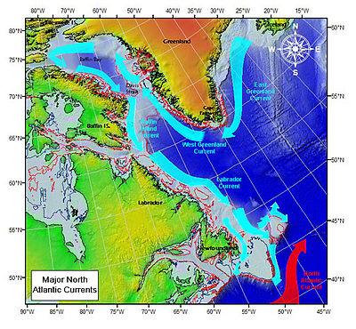 Principais correntes oceânicas no Atlântico Noroeste.