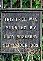 Lady Rosebery's tree - plaque - geograph.org.uk - 1070088.jpg