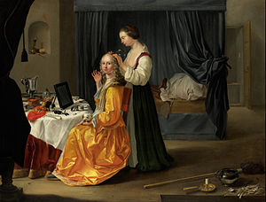 Toilet service - A Dutch lady at her toilet, 1650s