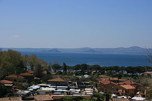 Vulsini - Lake Bolsena. The two tuff islands are visible in the distance.