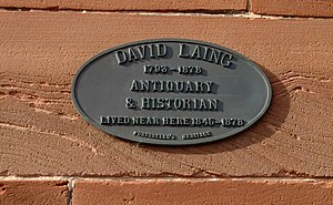 David Laing (antiquary) - Plaque in Portobello