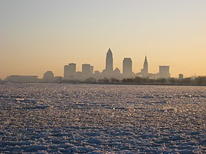 View over the frozen Lake Erie to Cleveland, O...