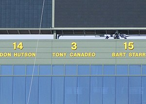 Tony Canadeo - Canadeo's number 3 displayed at Lambeau Field