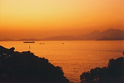 Hong Kong sunset circa 1992 after the eruption of Mount Pinatubo.