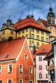 Landsberg, Altstadt, Stadtmuseum, dahinter die Heilig Kreuz Kirche (8750898348).jpg