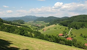 Central Black Forest - Typical landscape near the Kinzig valley: view over Welschensteinach to the Brandenkopf (945 m)