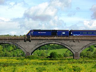 Reading–Taunton line - A High Speed Train crosses Langport Viaduct (between Castle Cary and Taunton).