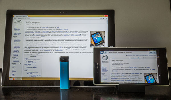 Crossover tablet device types from 2014: Microsoft Surface Pro 3 laplet and Sony Xperia Z Ultra phablet, next to a generic blue lighter to indicate their sizes. Laplet, Phablet and Cricket.jpg