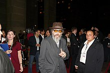 Larry Charles talks with fans outside TIFF premiere of Religulous.jpg