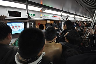 Rush hour - Crowded rush-hour Beijing Subway train