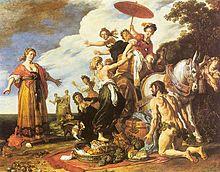 Ulisse si presenta a Nausicaa sulla spiaggia, dipinto di Pieter Lastman, 1617, Monaco, Alte Pinakothek