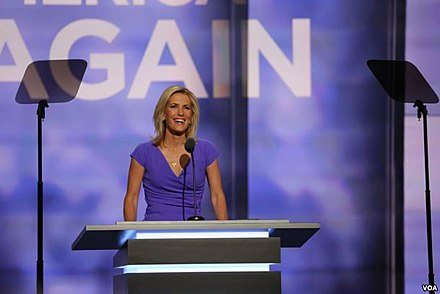 Ingraham speaks at the 2016 Republican National Convention. Laura Ingraham 2016 RNC (1).jpg