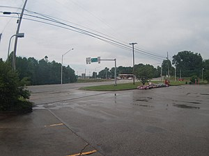 Marion Township, Lawrence County, Indiana - Intersection of U.S. 50 and State Road 37 from the Speedway gas station in Marion Township
