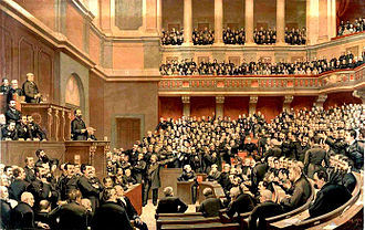 Hemicycle - French Assembly in 1877; it entrenched the left-right political spectrum of its chamber in modern politics