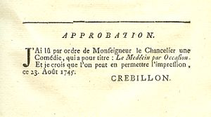 Censorship in France - A censor's approval in a play printed in Paris in 1746, De Boissy's Le Medecin par Occasion