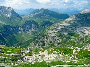 Lechquellen Mountains - Lechquellen Mountains: view into the Lech valley
