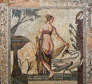 Tile mosaic depicting Leada and the Swan from ...