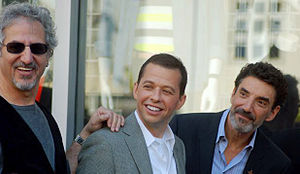 Lee Aronsohn - Aronsohn (left) with Jon Cryer and Chuck Lorre in September 2011