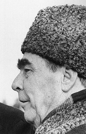 Karakul (hat) -  Leonid Brezhnev in Karakul hat in 1974