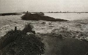 Typhoon Fran - A massive levee collapsed in Nagara River, affected from Super Typhoon Fran, September 1976.