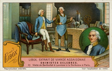 Lavoisier and Berthollet, Chimistes Celebres, Liebig's Extract of Meat Company Trading Card, 1929 Liebig Company Trading Card Ad 01.12.004 front.tif