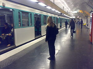 Paris Métro Line 9 - line 9 at République station.