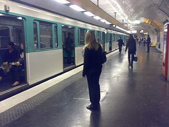 Paris Métro Line 9 - line 9 at République station.