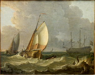 Ship of the Line with Two Sailboats