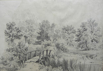 River Cole, West Midlands - Wooden bridge over the Cole at Shirley, drawn in the 19th century by Samuel Rostill Lines.