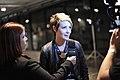 Livia Regly entrevistando a modelo e ex-bbb Diana Balsini @ São Paulo Fashion Week em Junho de 2011.jpg