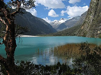 Cordillera Blanca - One of the Llanganuco Lakes, with snow-covered Yanapaccha in the background.