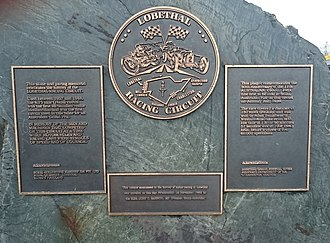 Lobethal Circuit - This plaque, which commemorates the running of the 1939 Australian Grand Prix, is the situated in the main street of Lobethal