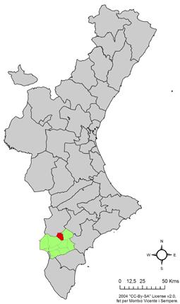 Localització d'Elda respecte el País Valencià