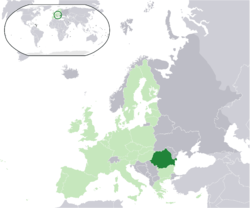 Location of  Romania  (dark green)– in Europe  (light green & dark grey)– in the European Union  (light green)  —  [Legend]